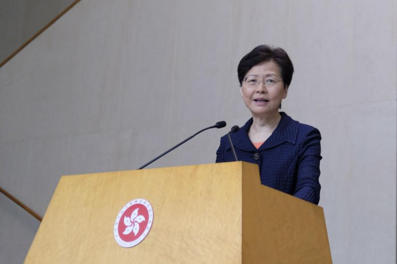 Carrie Lam hopes that this weekend's non-violent protest will lead Hong Kong to peace