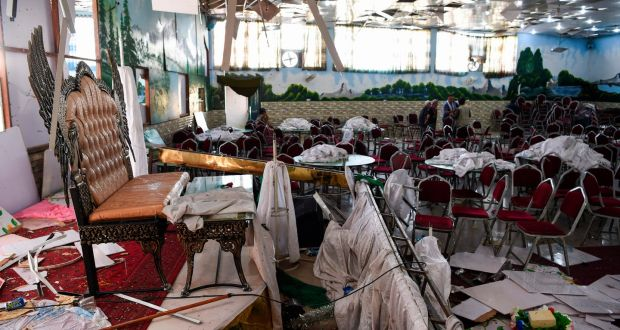 More than 63 people die in a suicide attack against a wedding hall in Kabul, Afghanistan