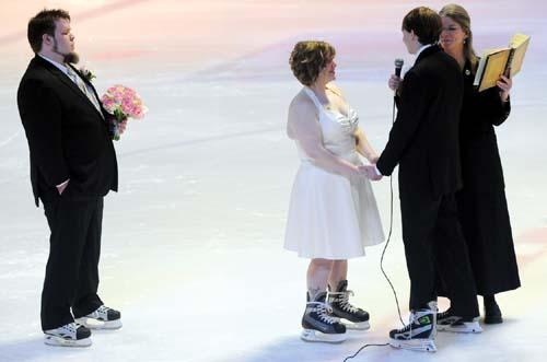 Skating her way down the aisle