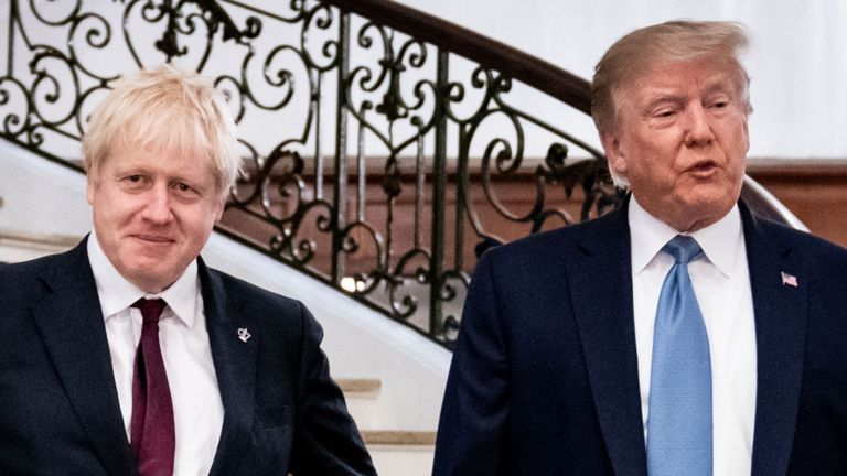 """Trump defends Johnson as the """"ideal man for Brexit"""" and promises him a """"big trade deal"""""""