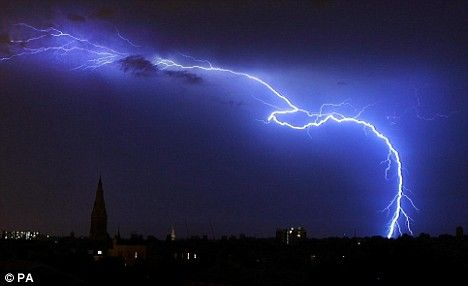 Electrical storms light up UK skies