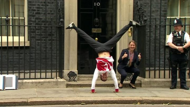 Gymnast Dominick Cunningham backflips into 10 Downing Street