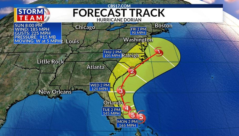 North Carolina enters a state of emergency at the approach of Hurricane 'Dorian'