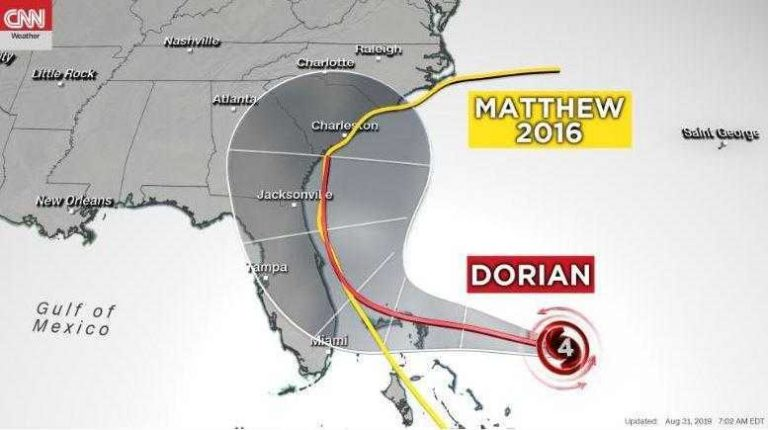 The 'Dorian' departs from the intended course and goes to Georgia and the Carolinas as a hurricane of category 4