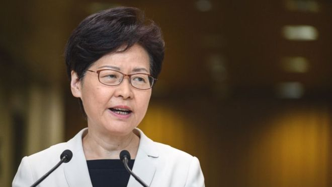 "The head of the Hong Kong Government says she has ""completely"" the support of China"