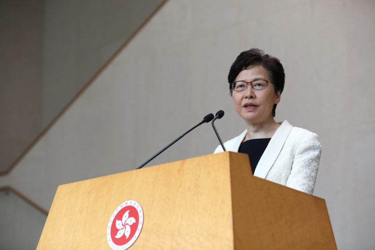 The Hong Kong leader says she has never submitted her resignation to Beijing
