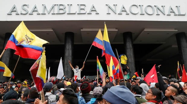 Indigenous protesters break into the National Assembly of Ecuador in the framework of protests against Moreno