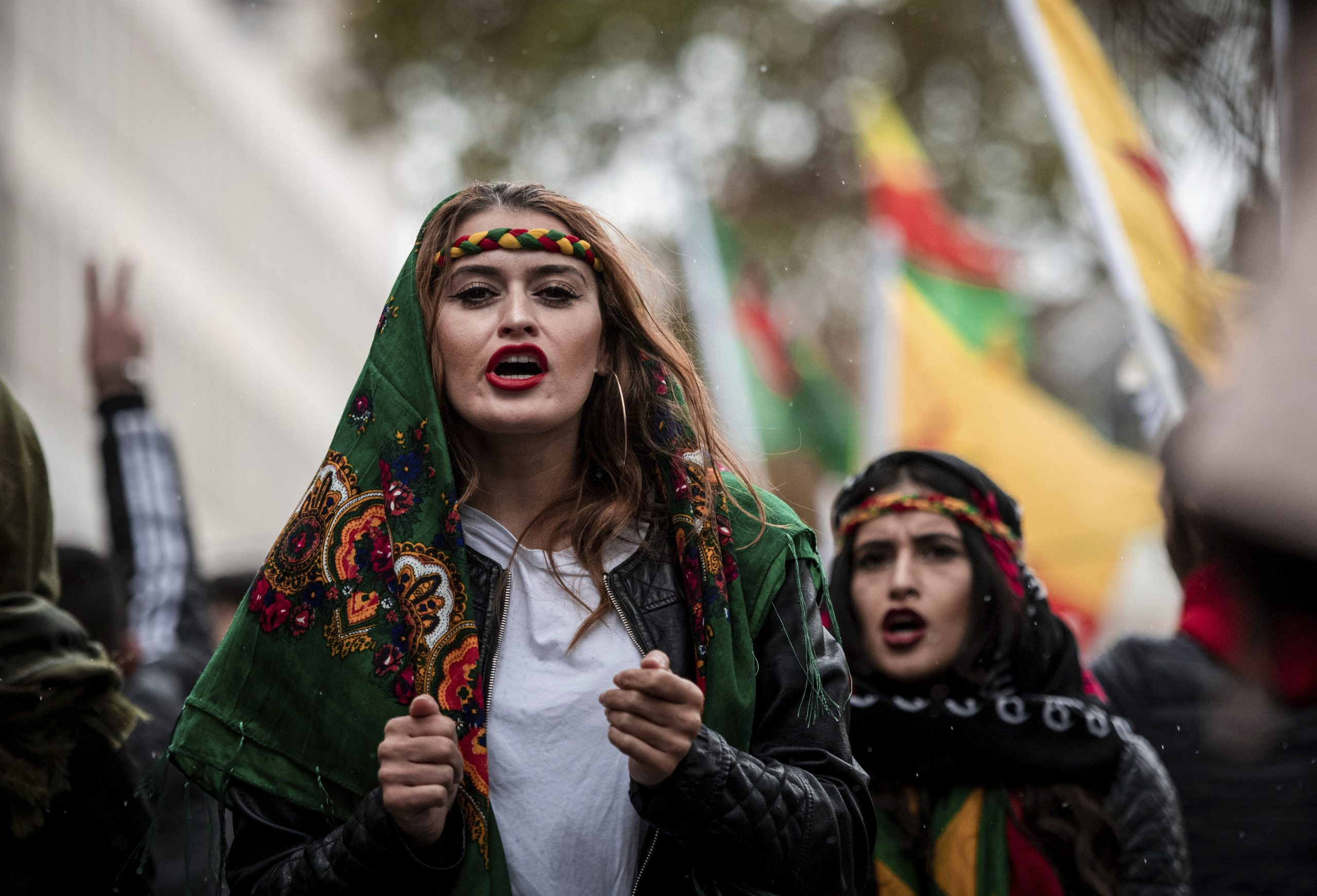 Thousands of Kurds take to the streets of Germany to demonstrate against the Turkish offensive