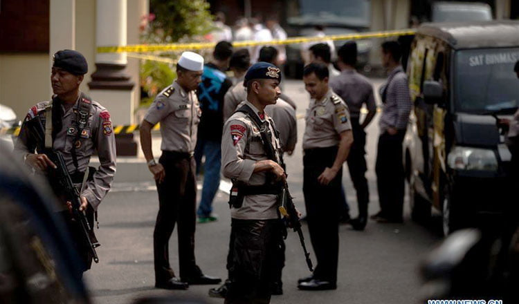 An explosion next to a police station in northern Sumatra leaves several injured
