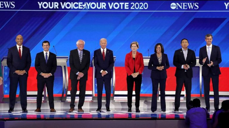 The Democratic candidates face in their fifth debate with Trump as a common enemy