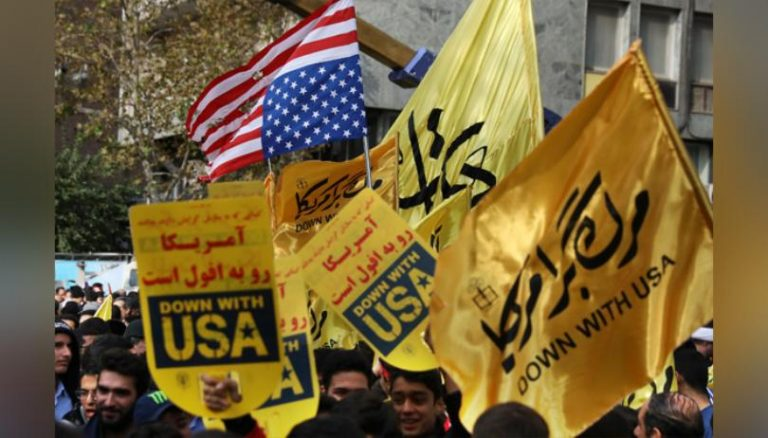 """Thousands of Iranians are celebrating the cry of """"death to America"""" for the 40th anniversary of the US embassy in Tehran"""