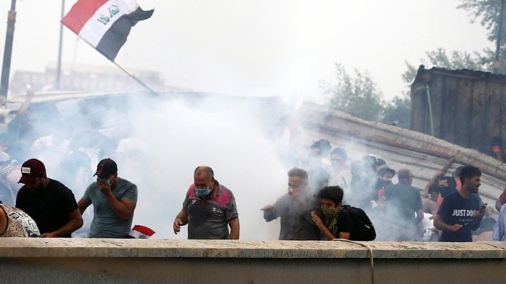 Clashes in Baghdad between protesters and police resume after Friday's massive march