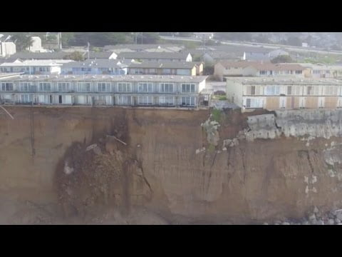 Hemsby cliff-top homes demolition captured in drone footage