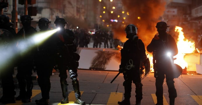 Hong Kong Police detonate a bomb of alleged protesters against the Government
