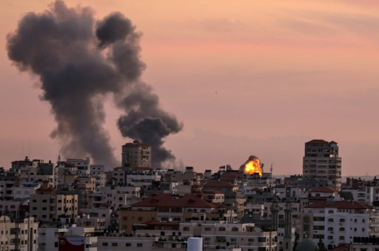 Israel attacks targets in the Gaza Strip in response to the launch of two projectiles