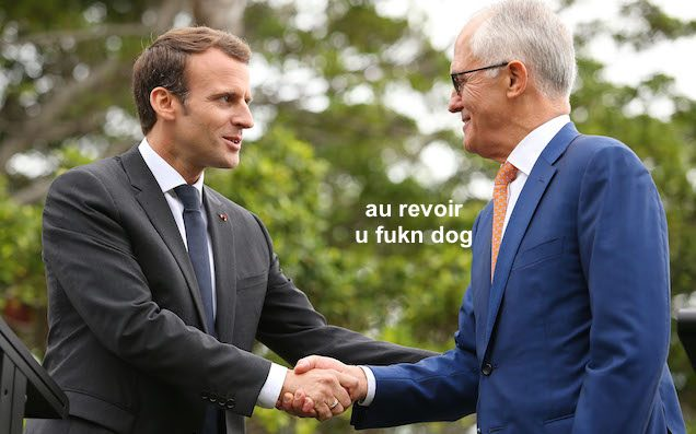 Macron to Turnbull: 'Thank you and your delicious wife'