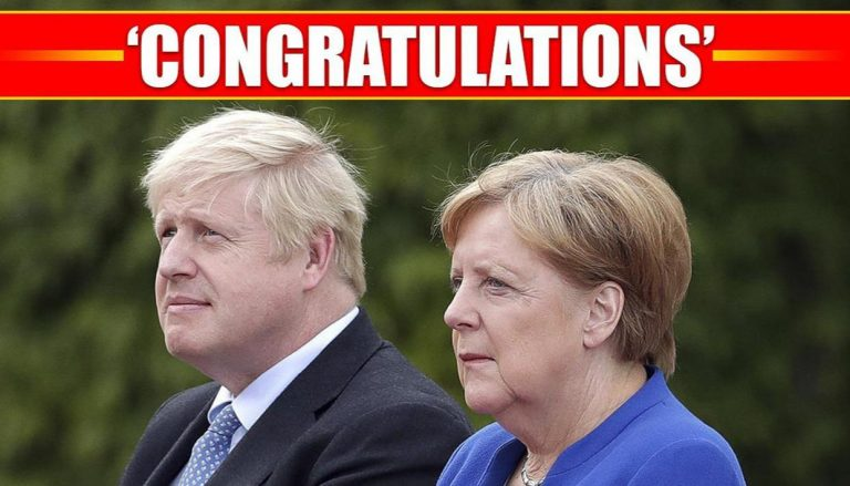"Merkel congratulates Johnson for his ""resounding victory"""