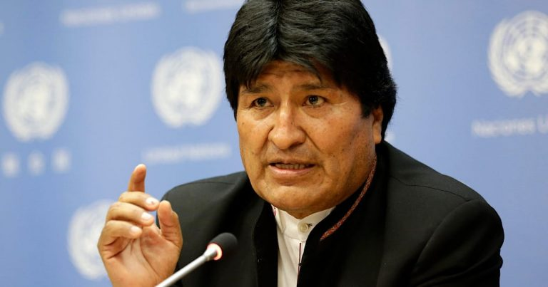 "Morales denounces an ""illegal"" arrest warrant against him and accuses the ""coup plotters"" of destroying the rule of law"