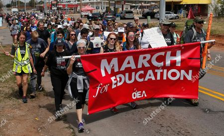 Oklahoma teachers continue their 110-mile march to Capitol