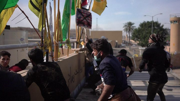 Protesters begin to withdraw from the US Embassy in Baghdad