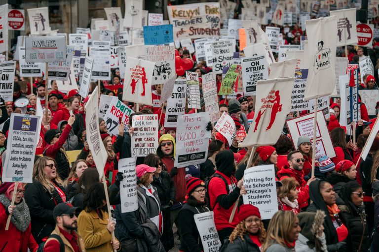 Public schools in two states close as teachers protest
