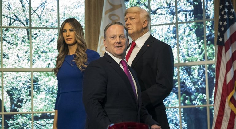 Spicer presides over unveiling of Melania Trump wax figure at Madame Tussauds