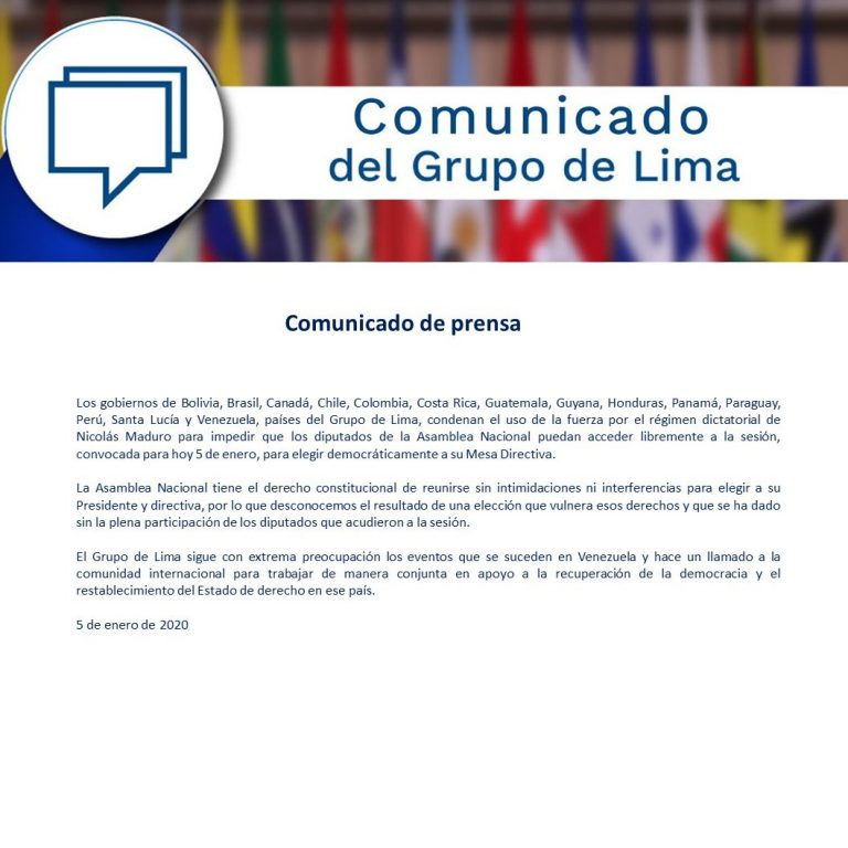 "The Lima Group condemns Maduro's ""use of force"" to ""prevent"" voting in the National Assembly"