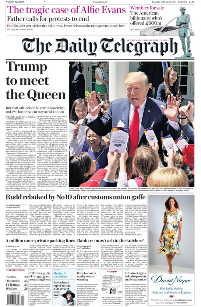 The Papers: Wembley 'fury' and Trump's 'London ban'