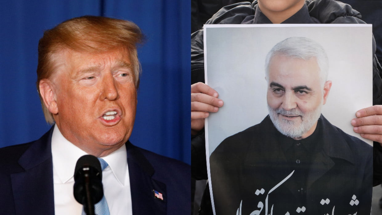 """Trump celebrates the end of Soleimani's """"reign of terror"""" and says he is not looking for a """"regime change"""" in Iran"""