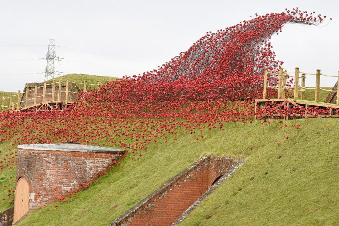 Wave poppies sculpture on display in Hampshire fort