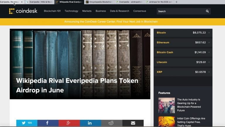 Wikipedia Rival Everipedia Plans Token Airdrop in June