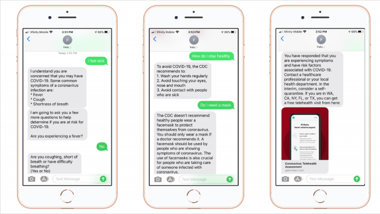 The US Center for Disease Control created a chatbot to check for possible coronavirus symptoms