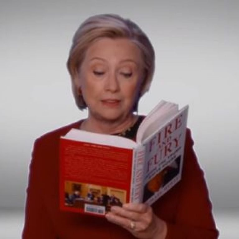 Clinton spoofs Trump with 'Fire and Fury' reading at Grammys