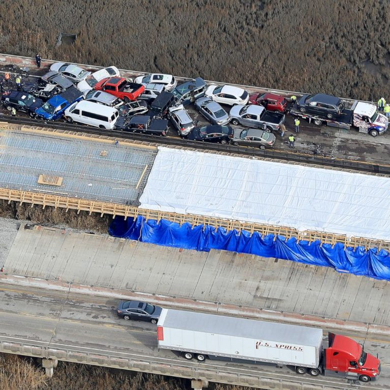 Drone footage shows highway pile-up