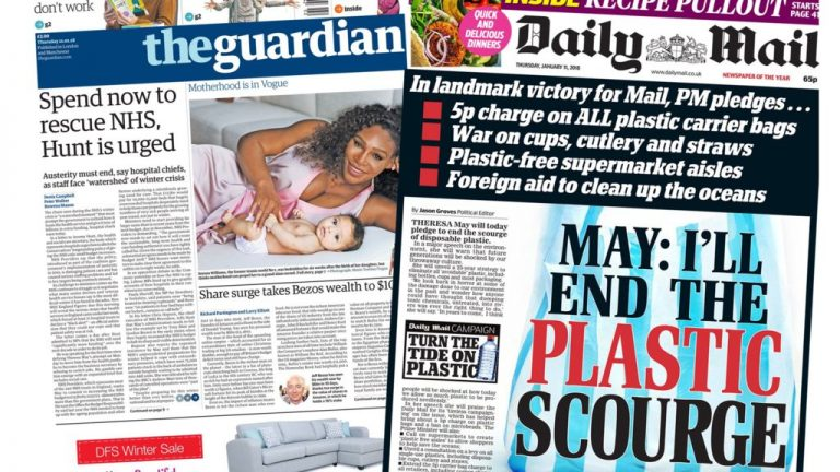 Paper review: NHS funding plea and a plastic 'scourge'