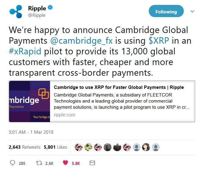 Payment Provider Fleetcor to Pilot Ripple's XRP Cryptocurrency
