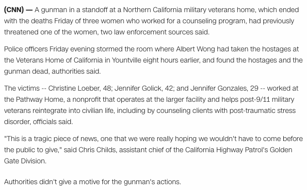 Shots fired at veterans' home in northern California