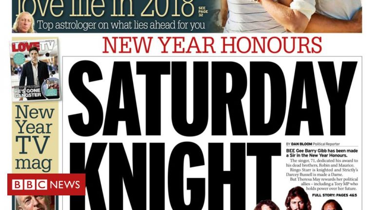 The Papers: 'Saturday knight fever' as New Year Honours revealed
