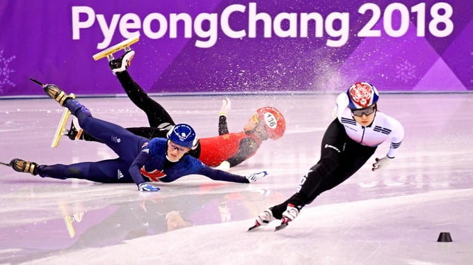 Winter Olympics: Elise Christie crashes out of 1500m semi-final
