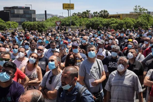 Demonstration in France against the closure of a Renault plant