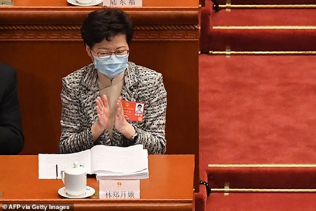 The Hong Kong leader admits that she has not yet seen the text of the controversial National Security Law