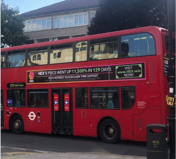 HEX advert on the London bus