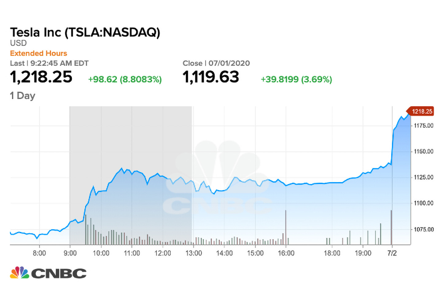 Tesla's share price exceeded $ 1,200 prior to the IPO