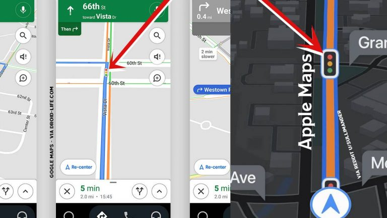 Now you can see the traffic lights in Google Maps on an Android device