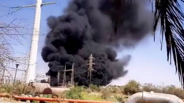 Recording of an explosion without injuries in a power plant in the Iranian province of Isfahan