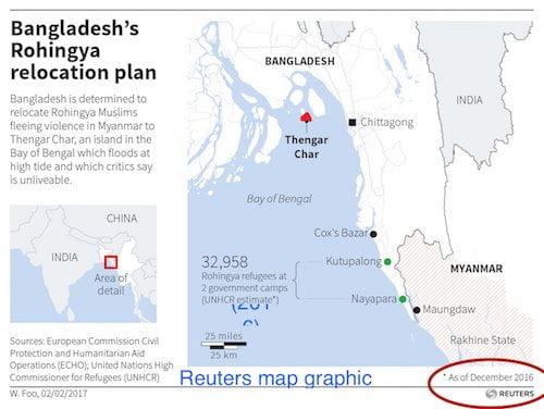 Bangladesh plans to move some of the Rohinghya refugees to an island 25 miles offshore