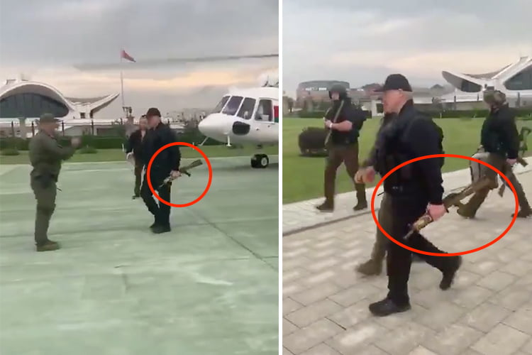Lukashenko arrives at the presidential residence after the protests with a helicopter and a rifle