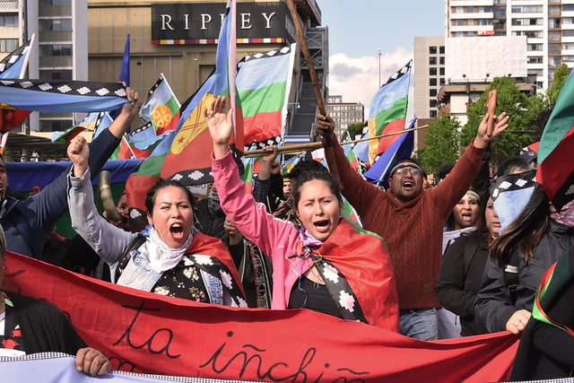 Members of the Mapuche community demonstrate in Chile in support of a detained leader who has been on hunger strike for 100 days