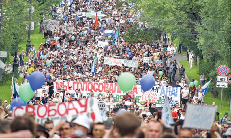 Thousands of Russians demonstrate against the arrest of the former governor of Jabarovsk for the fourth consecutive Saturday