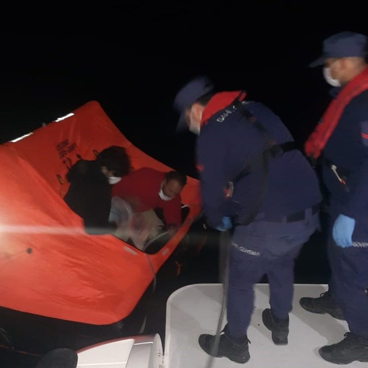 Turkish coast guards rescue three people who were allegedly attacked by Greek forces in the Aegean Sea